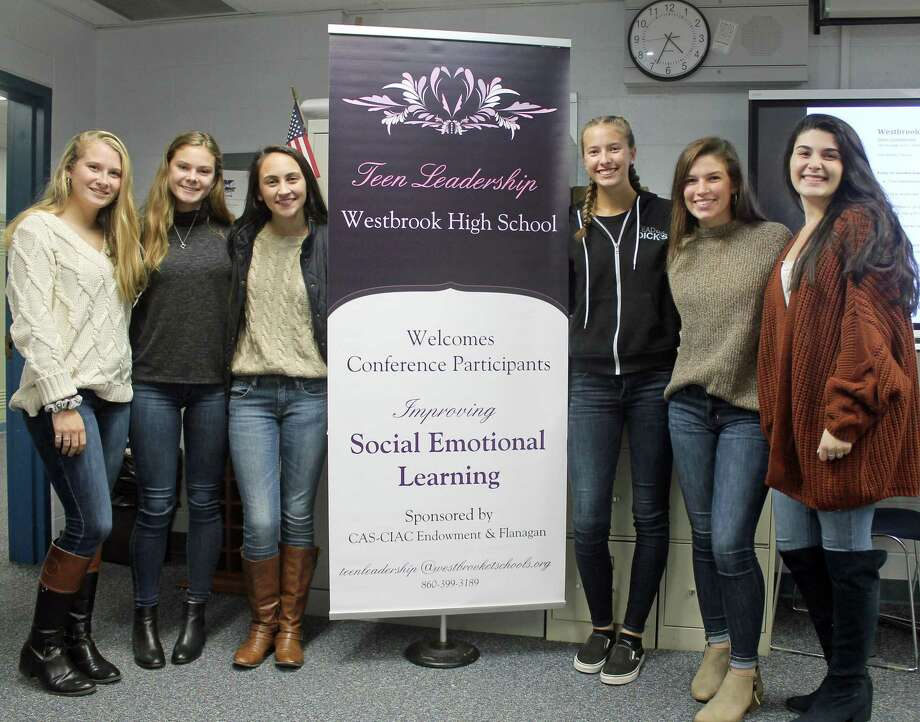 "Pictured, from left, are Westbrook High School's Teen Leadership/School Climate Group's ""A-team,"" Olivia Hartzell, Kendall Orlowski, Olivia Archer, Alex Young, Lexi Koplas and Madison Liberatore. Photo: Valerie Bannister / For Hearst Connecticut Media / New Haven Register freelance"