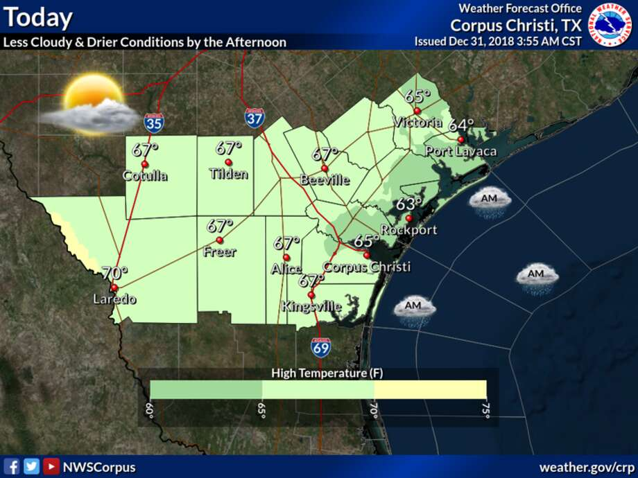 NWS said that drier conditions along with partly cloudy to mostly sunny skies are expected this afternoon. Highs will be in the 60s. Photo: National Weather Service
