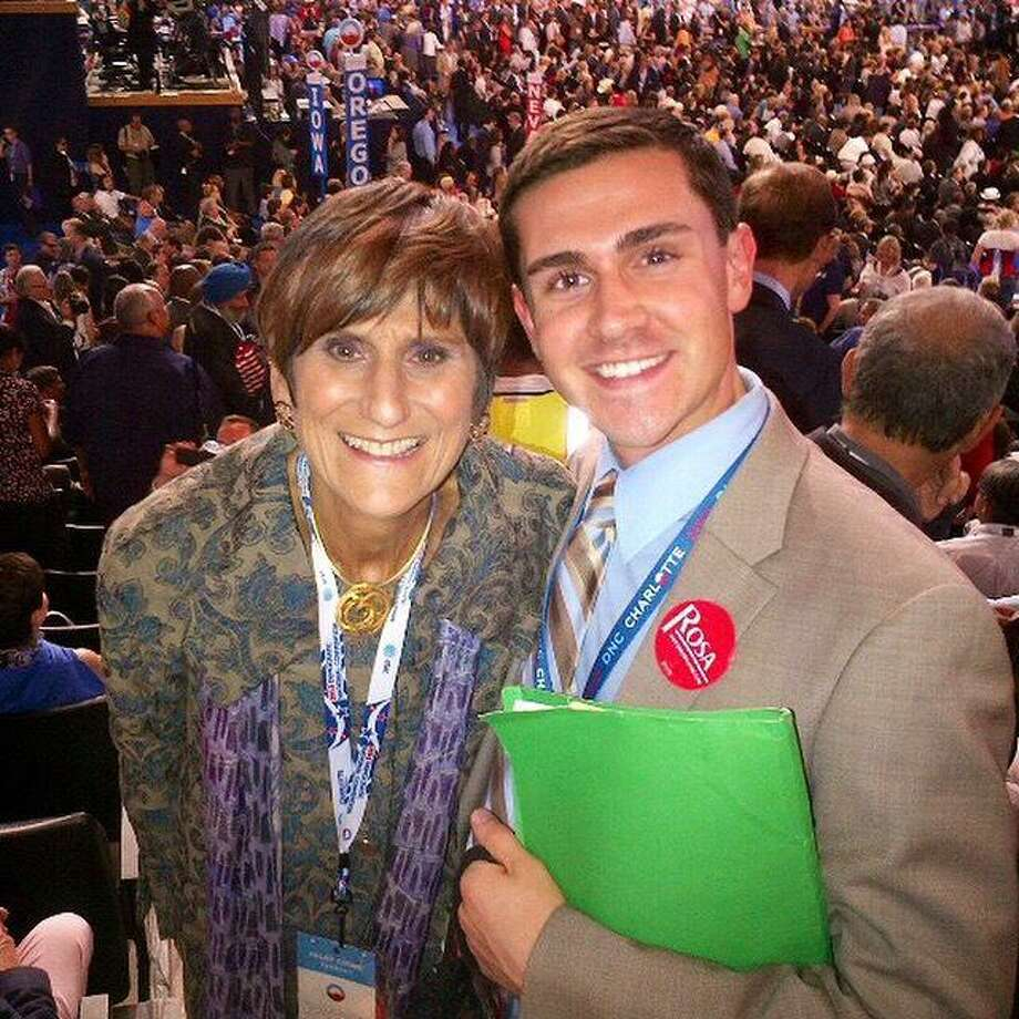 Jimmy Tickey of Shelton poses with U.S. Rep. Rosa DeLauro during her recent re-election. Tickey, who served as DeLauro's campaign manager for the past eight years, has resigned to become incoming Lt. Gov. Susan Bysiewicz's senior advisor on economic development and business community initiatives. Photo: / Contributed Photo