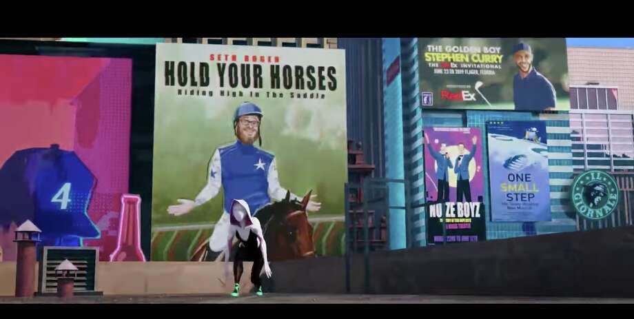 "A screenshot from ""Spider-Man: Into the Spider-Verse"" that shows Warriors star Stephen Curry on a billboard. Photo: Sony Pictures Animation"
