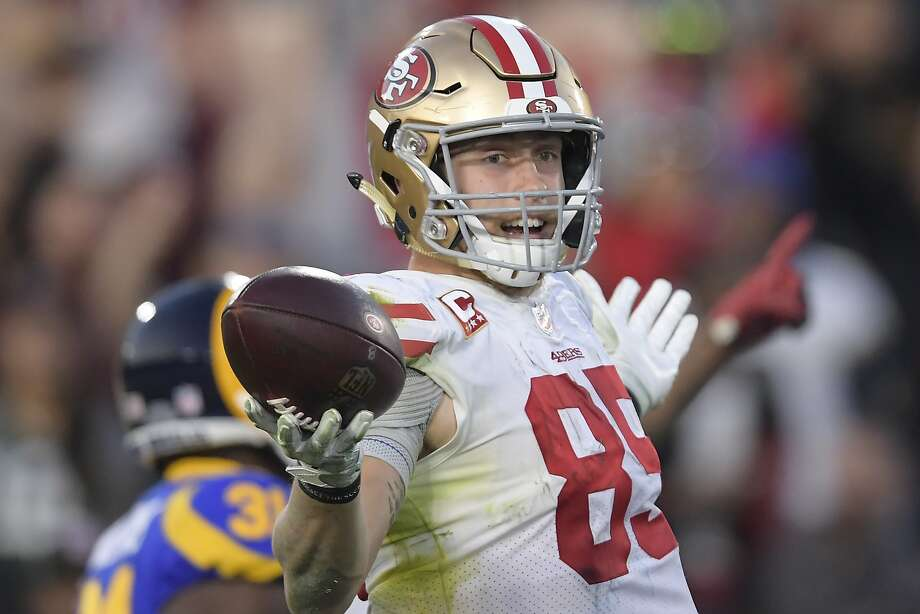 San Francisco 49ers tight end George Kittle celebrates after scoring during the second half in an NFL football game against the Los Angeles Rams Sunday, Dec. 30, 2018, in Los Angeles. (AP Photo/Mark J. Terrill) Photo: Mark J. Terrill / Associated Press
