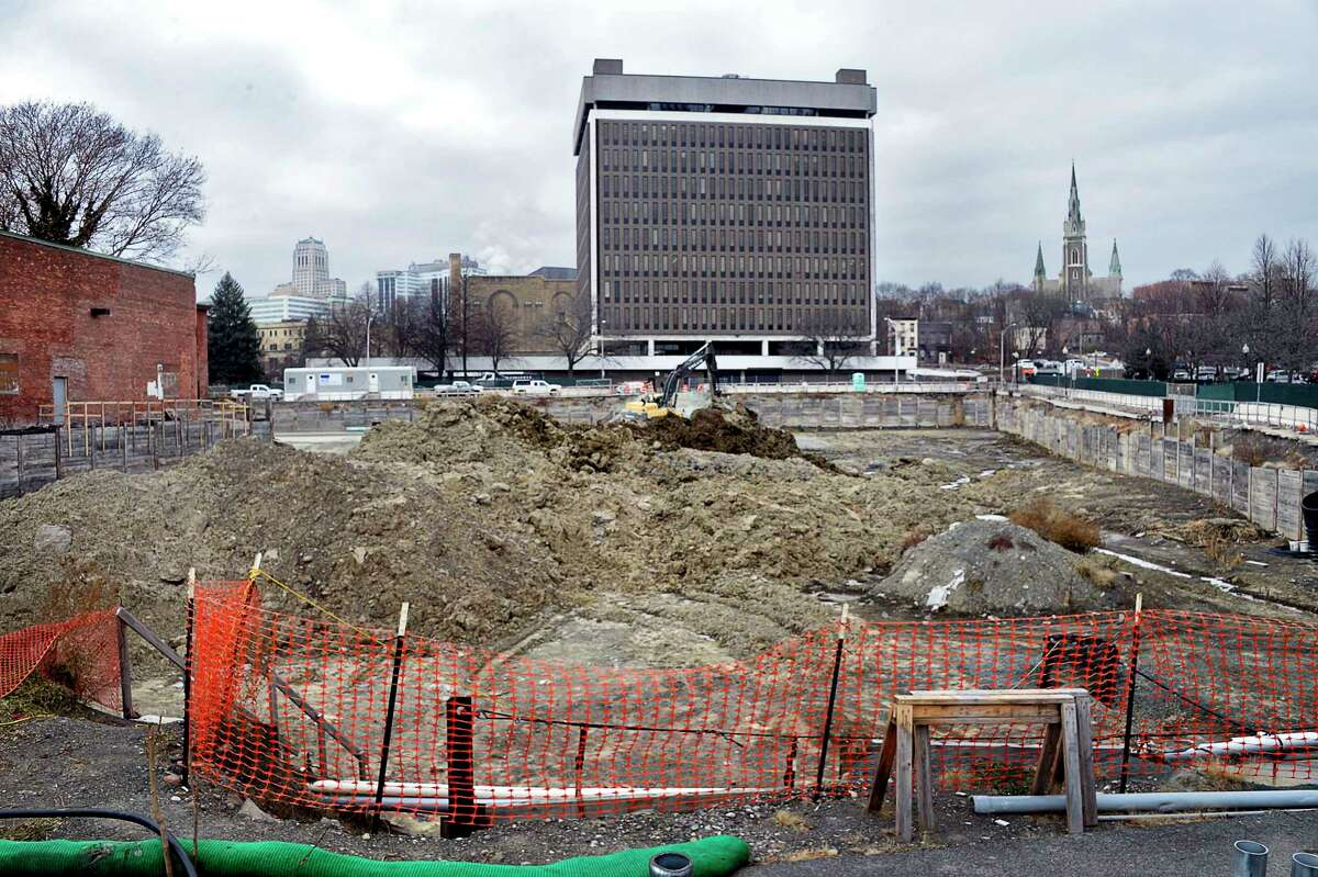 Construction at the corner of Broadway and Spencer Street at Quackenbush Square continues on Broadway Tuesday Dec. 11, 2018 in Albany, NY. (John Carl D'Annibale/Times Union)