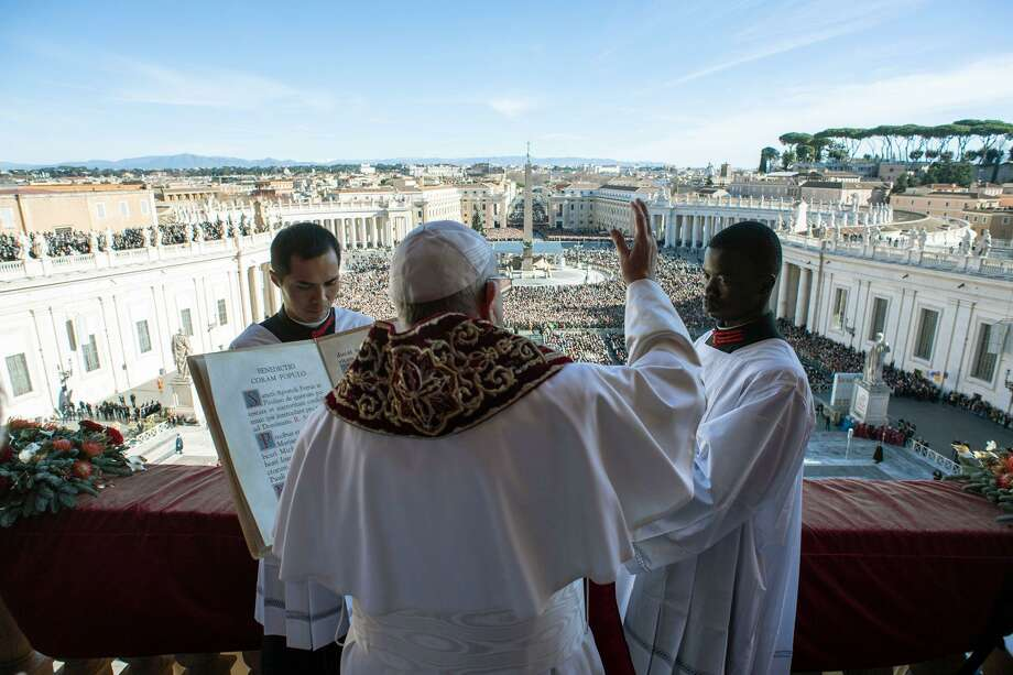 Perhaps not the same as this blessing from Pope Francis on Christmas Day, but an author suggests that blessings one from another can help modern travails. Photo: Vatican Media / AFP