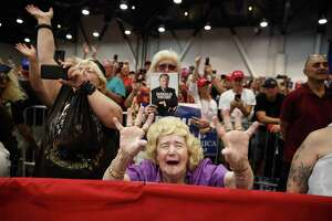 Supporters of President Donald Trump cheer at a campaign rally Sept. 20 in Las Vegas. The truth, however, is that his support has always been underwater.
