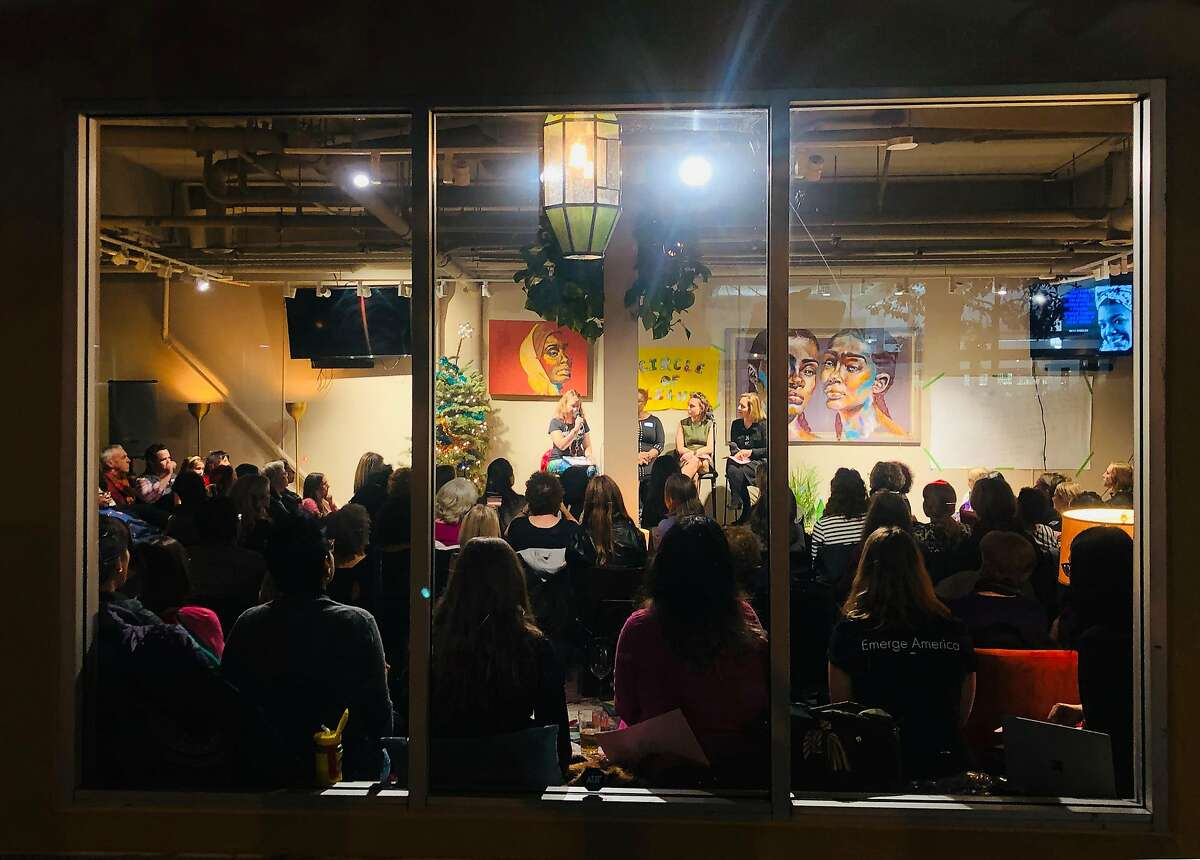 Manny's, a cafe and event space on Valencia Street, holding an event in the fall of 2018. The cafe was tagged with anti-Zionst, pro-Palestinian graffiti over the weekend.