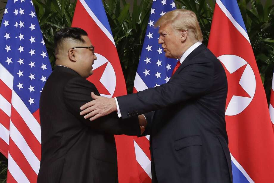 President Trump had many foreign policy failures in 2018, but his opening to North Korea wasn't among them despite the lack of solid results. The administration should continue the talks that begans with Trump shaking hands with North Korea leader Kim Jong Un at the Capella resort on Sentosa Island, in Singapore in June. Photo: Evan Vucci /Associated Press / Copyright 2018 The Associated Press. All rights reserved