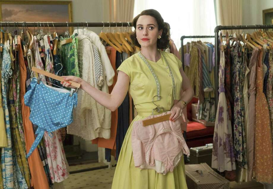 "Rachel Brosnahan in a scene from ""The Marvelous Mrs. Maisel."" The meticulous costumes of the 1950s-era show are crafted by designer Donna Zakowska. Photo: Nicole Rivelli, HONS / Associated Press / Amazon"