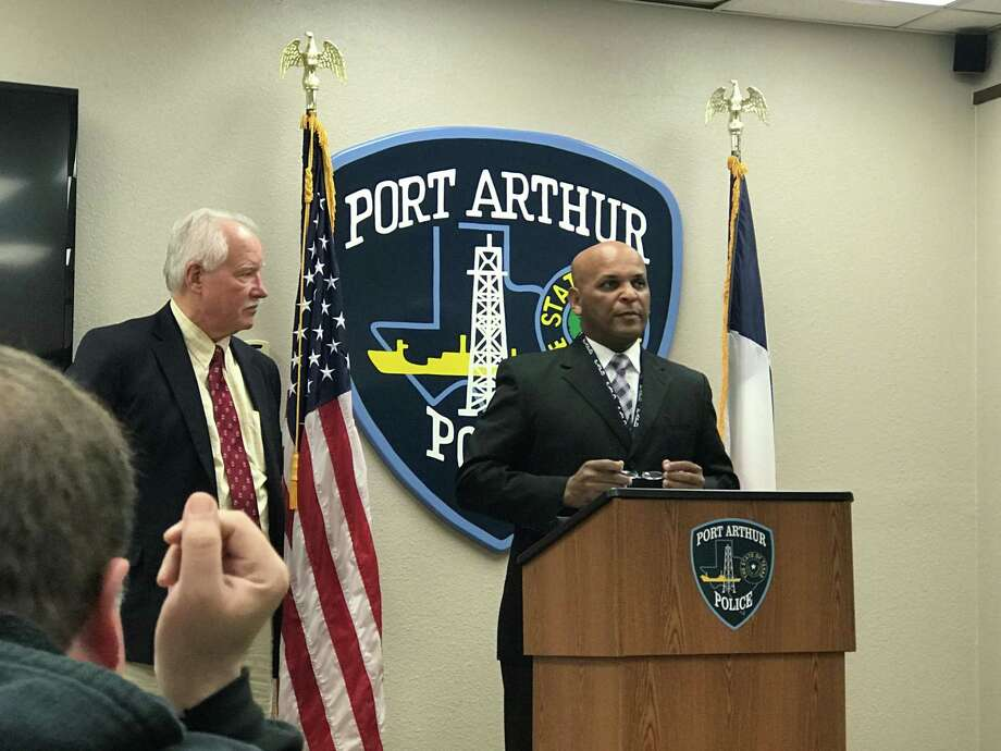 Police Chief Tim Duriso and District Attorney Bob Wortham addressed the crowd during a press conference regarding a fatal officer involved shooting that occurred Friday, Monday, Dec. 28, 2018 in Port Arthur Photo: Haley Bruyn