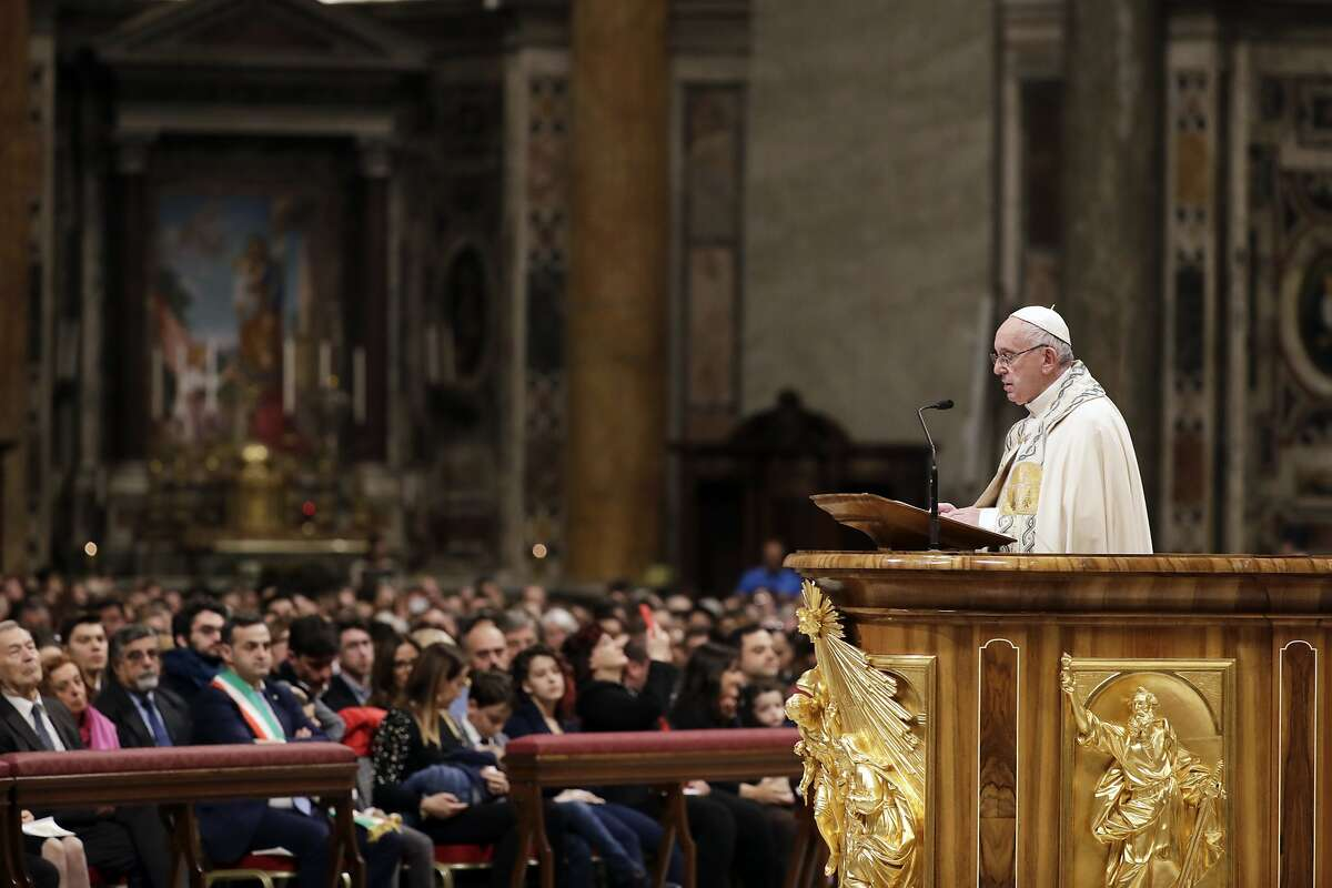 Pope Francis celebrates a new year's eve vespers Mass in St. Peter's Basilica at the Vatican, Monday, Dec. 31, 2018. (AP Photo/Andrew Medichini)