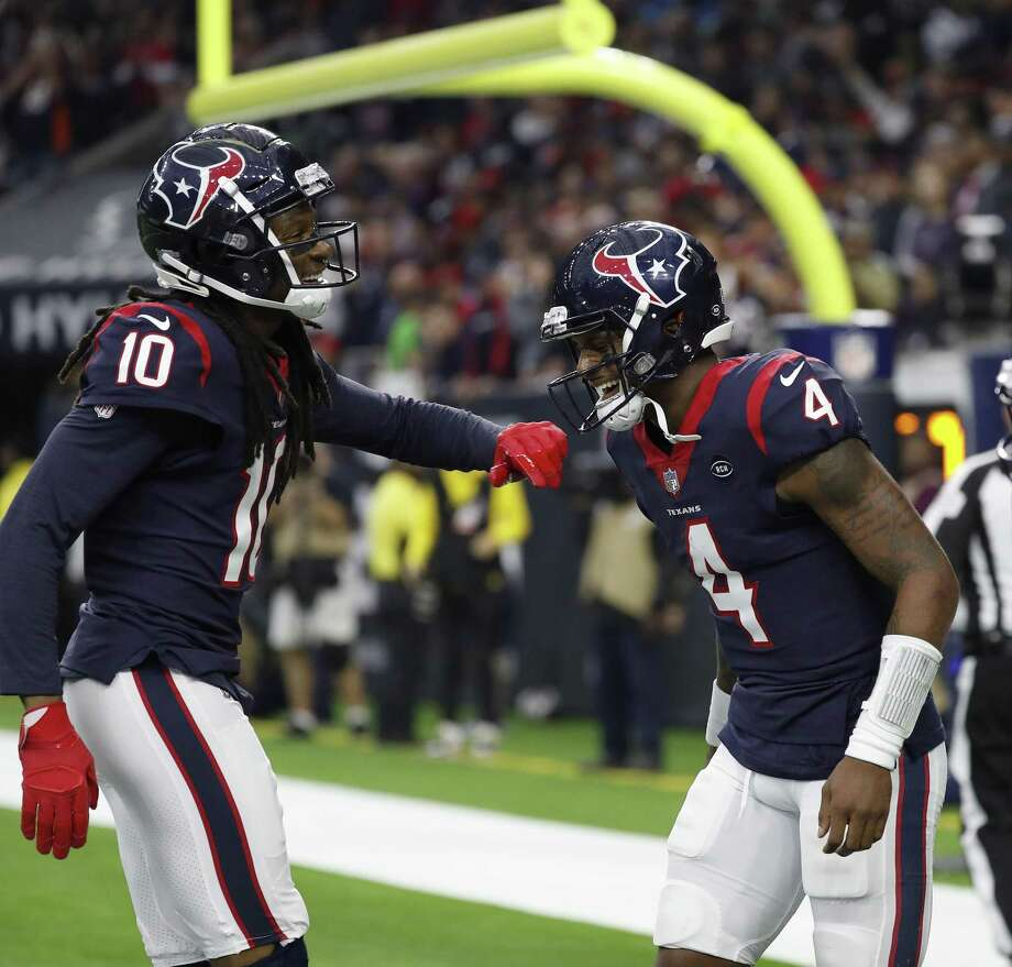 Houston Texans quarterback Deshaun Watson (4) celebrates with wide receiver DeAndre Hopkins (10) after Watson's touchdown during the second quarter at NRG Stadium, Sunday, Dec. 30, 2018, in Houston. Photo: Karen Warren, Houston Chronicle / Staff Photographer / © 2018 Houston Chronicle