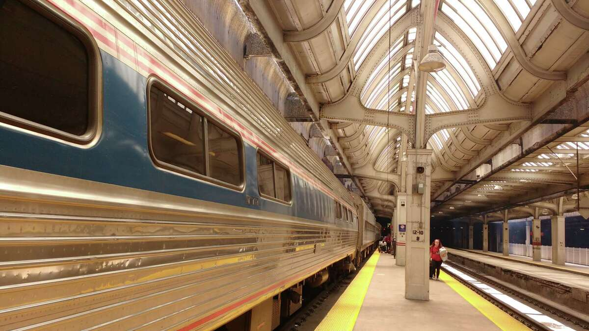 An Amtrak train after pulling in to Union Station in downtown Chicago in mid-May 2017.
