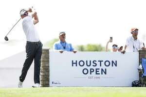 Ian Poulter tees off on the 17th hole during the Championship Round of the Houston Open Sunday, April 1, 2018 in Humble.