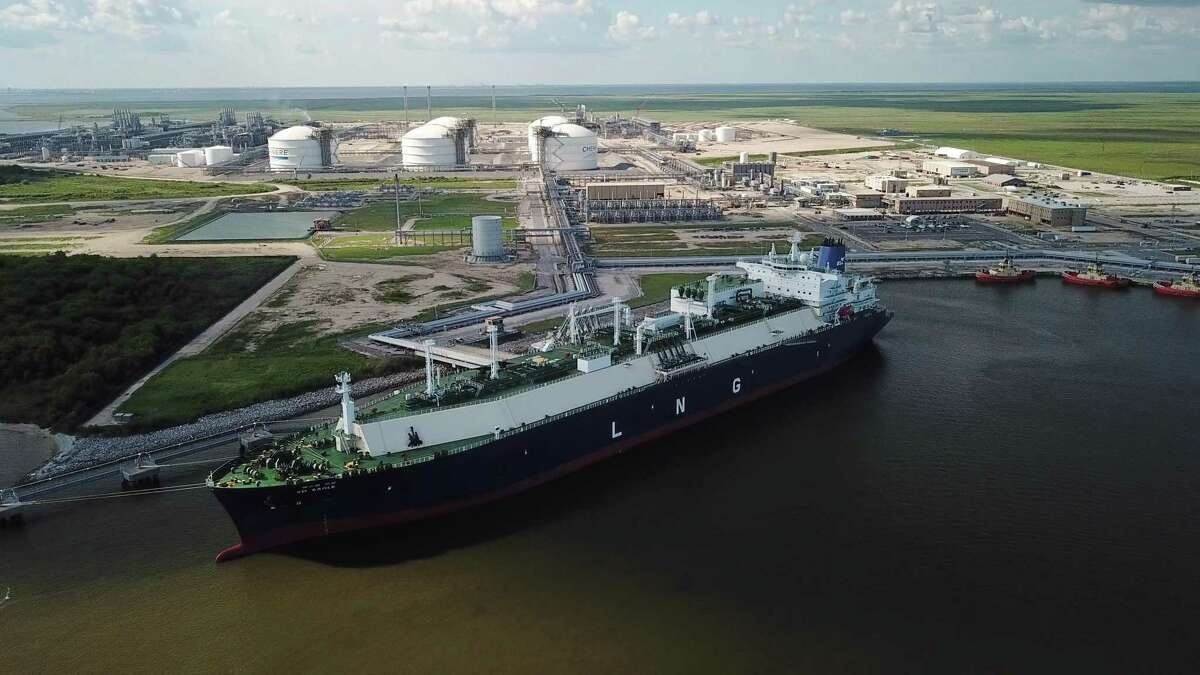A carrier ship for liquefied natural gas (LNG) is docked at Chenieres Sabine Pass Terminal in Cameron Parish, La. CONTINUE to see photos from the construction of the Sabine Pass terminal.