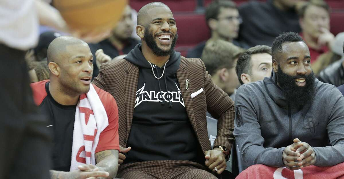 PHOTOS: Rockets game-by-game Houston Rockets forward PJ Tucker (17), guard Chris Paul (3) and guard James Harden (13) laugh as they sit on the bench in the first half of game action against the Memphis Grizzlies at the Toyota Center on Monday, Dec. 31, 2018 in Houston. Browse through the photos to see how the Rockets have fared in each game this season.