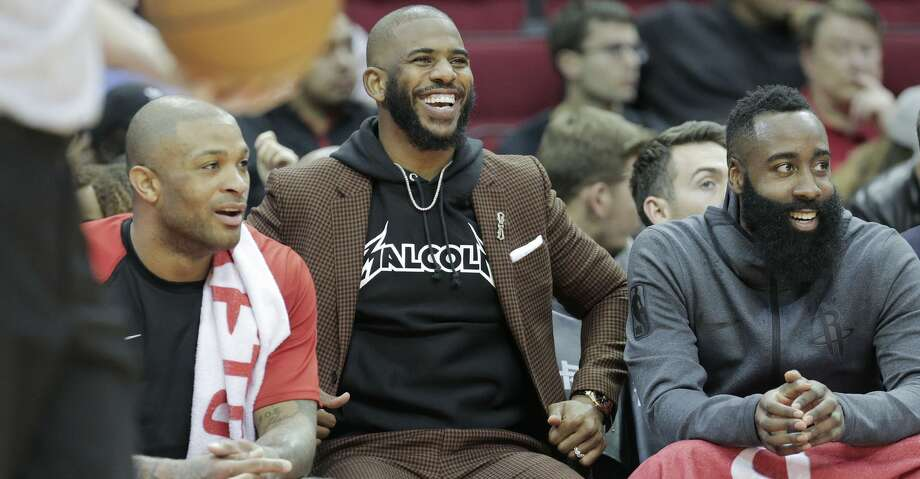 PHOTOS: Rockets game-by-game Houston Rockets forward PJ Tucker (17), guard Chris Paul (3) and guard James Harden (13) laugh as they sit on the bench in the first half of game action against the Memphis Grizzlies at the Toyota Center on Monday, Dec. 31, 2018 in Houston. Browse through the photos to see how the Rockets have fared in each game this season. Photo: Elizabeth Conley/Staff Photographer