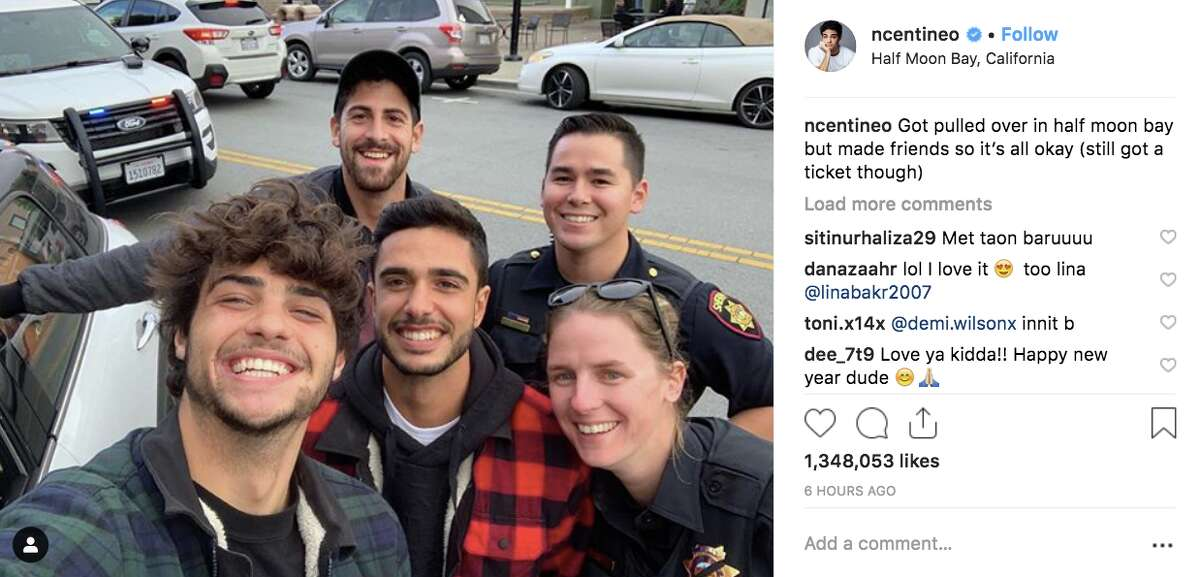 Actor Noah Centineo poses with sheriff's deputies after being pulled over in Half Moon Bay, according to social media.