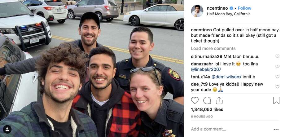 Actor Noah Centineo poses with sheriff's deputies after being pulled over in Half Moon Bay, according to social media. Photo: Instagram @ncentineo