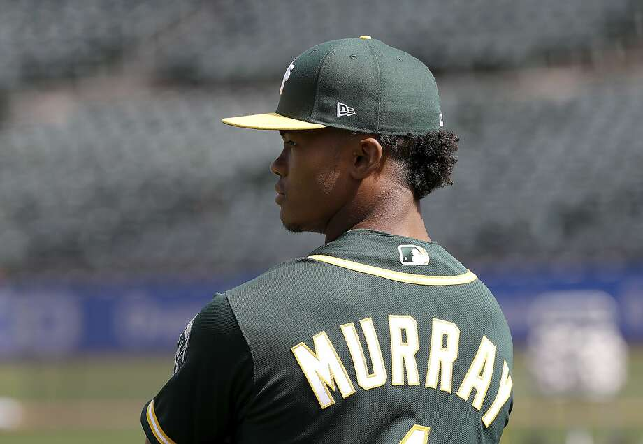 Oakland Athletics draft pick Kyler Murray stands on the field before a baseball game between the Athletics and the Los Angeles Angels in Oakland, Calif., Friday, June 15, 2018. (AP Photo/Jeff Chiu) Photo: Jeff Chiu / AP