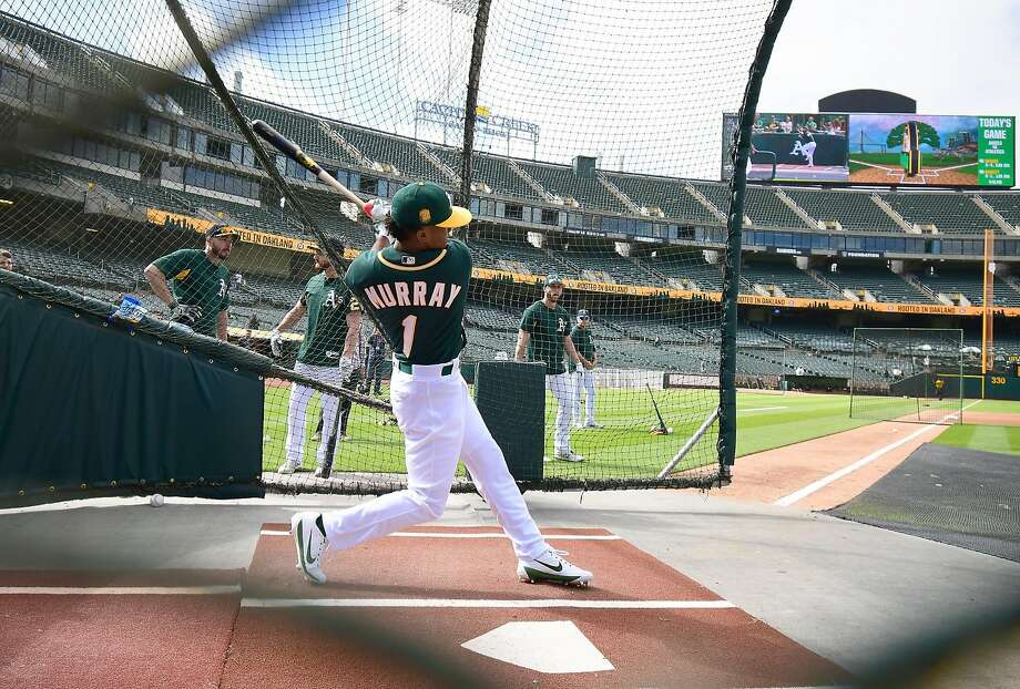 OAKLAND, CA - JUNE 15:  The Oakland Athletics number one draft pick Kyler Murray #1 an outfielder out of the University of Oklahoma takes batting practice prior to the start of the game between the Los Angeles Angels of Anaheim and Oakland Athletics at th Photo: Thearon W. Henderson / Getty Images