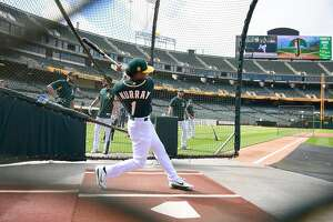 OAKLAND, CA - JUNE 15:  The Oakland Athletics number one draft pick Kyler Murray #1 an outfielder out of the University of Oklahoma takes batting practice prior to the start of the game between the Los Angeles Angels of Anaheim and Oakland Athletics at th