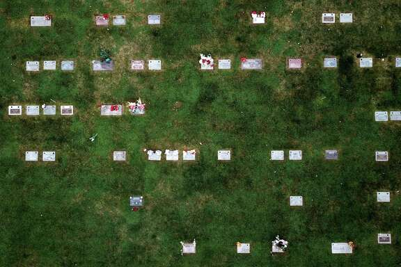 A drone photograph of The Lone Tree Cemetery in Hayward on Wednesday, December 19, 2018. Oscar Grant is buried at Lone Tree Cemetery. Grant was a 22-year-old Oakland native who was shot on New Year's Day in 2009 by BART Police Officer Johannes Mehserle. The 10th anniversary of Grant's death is on January 1, 2019.