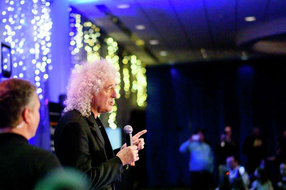 "Brian May, best known as the lead guitarist of the rock band Queen but also an astrophysicist collaborating with the mission's science team, speaks at Johns Hopkins University Applied Physics Laboratory in Laurel, Md., shortly after midnight on Tuesday morning, Jan. 1, 2019. May introduced a music video of a new song, ""New Horizons,"" which he wrote to celebrate the moment the NASA spacecraft New Horizons encountered Ultima Thule, an object orbiting one billion miles beyond Pluto.  (Matt Roth/The New York Times) Photo: MATT ROTH, NYT / NYTNS"