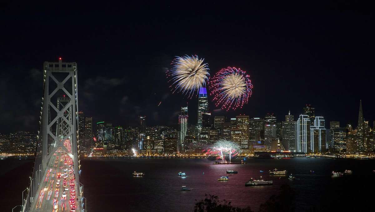 Fireworks light up over San Francisco Bay and the Embarcadero as the West Coast rang in the New Year in San Francisco, Calif., on Tuesday, January 1, 2019.