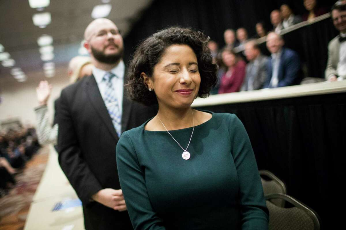 Newly sworn in Harris County Judge Lina Hidalgo closes her eyes absorbing the moment after taking an oath during the Harris County Swearing-In Ceremony and Celebration at the NRGCenter on Tuesday, Jan. 1, 2019, in Houston.