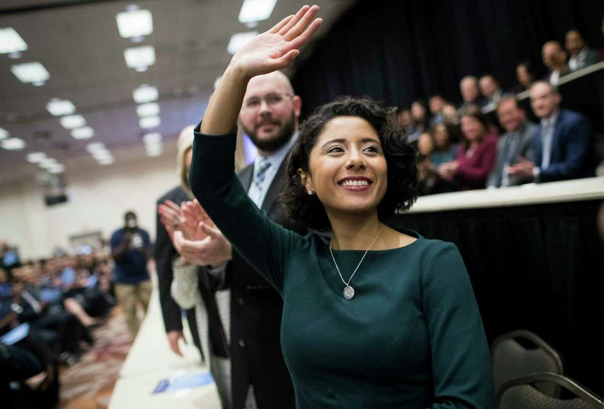 Newly sworn in Harris County Judge Lina Hidalgo waves at the audience during the Harris County Swearing-In Ceremony and Celebration at the NRG Center on Tuesday, Jan. 1, 2019, in Houston.