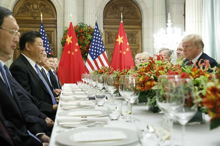 President Trump and President Xi Jinping of China participate in a bilateral meeting during the G20 Summit in Buenos Aires, Argentina, in December. Photo: Tom Brenner / New York Times 2018