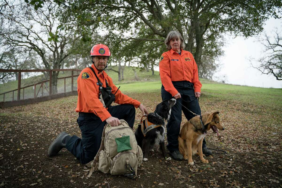 Andrew Rateaver and Alyson Hart, with their dogs, Gig and Vin, are search and rescue volunteers.
