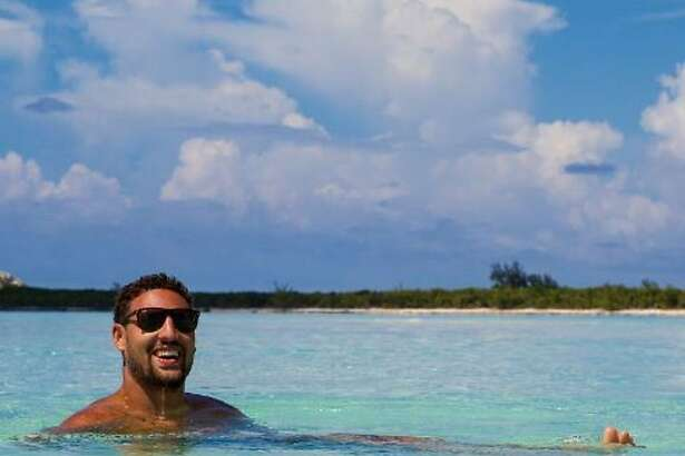 Klay Thompson takes a swim in the Bahamas during a vacation in the summer of 2017.