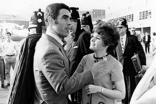 MarchMembers of the Houston Astros baseball team are welcomed home at Hobby International Airport from their spring training headquarters at Cocoa, Florida. Astros outfielder Norm Miller is greeted by his wife, Vicki.