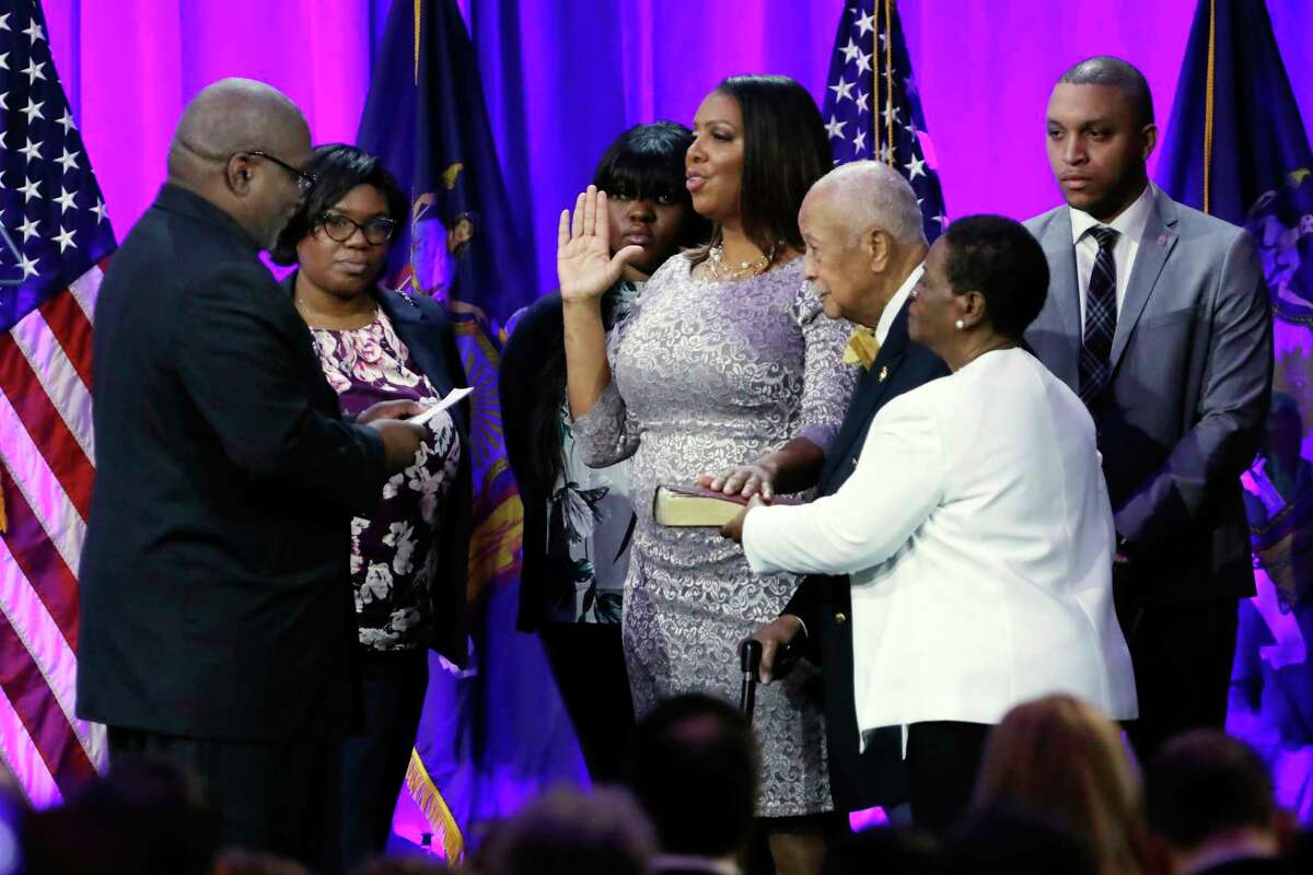 Incoming New York State Attorney General Letitia James takes her oath of office, on Ellis Island in New York Harbor, Tuesday, Jan. 1, 2019.
