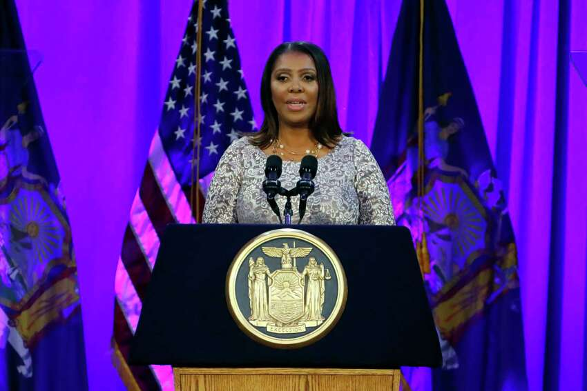 New York State Attorney General Letitia James delivers her speech, on Ellis Island in New York Harbor, Tuesday, Jan. 1, 2019.