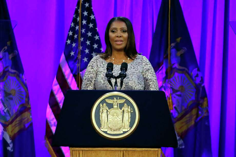 New York State Attorney General Letitia James delivers her speech, on Ellis Island in New York Harbor, Tuesday, Jan. 1, 2019. Photo: Richard Drew, AP / Copyright 2018 The Associated Press. All rights reserved