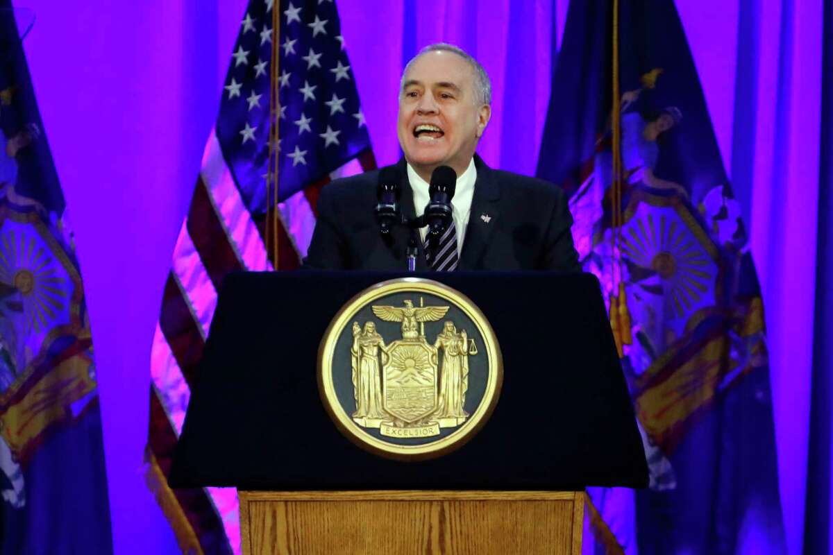 New York State Comptroller Thomas DiNapoli delivers his address after taking his oath of office, on Ellis Island in New York harbor, Tuesday, Jan. 1, 2019.