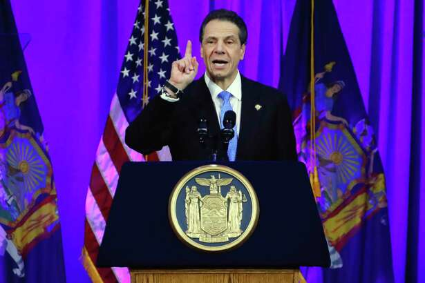 New York Gov. Andrew Cuomo delivers his third inaugural address, on Ellis Island in New York harbor, Tuesday, Jan. 1, 2019.