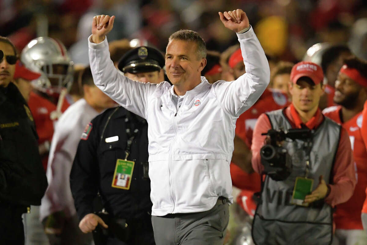 Ohio State coach Urban Meyer celebrates at the end of the team's 28-23 win over Washington during the 2019 Rose Bowlin Pasadena, Calif.