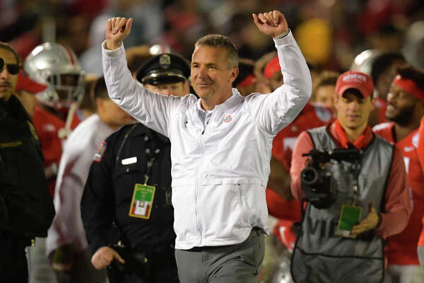 Ohio State coach Urban Meyer celebrates at the end of the team's 28-23 win over Washington during the Rose Bowl NCAA college football game Tuesday, Jan. 1, 2019, in Pasadena, Calif. (AP Photo/Mark J. Terrill)