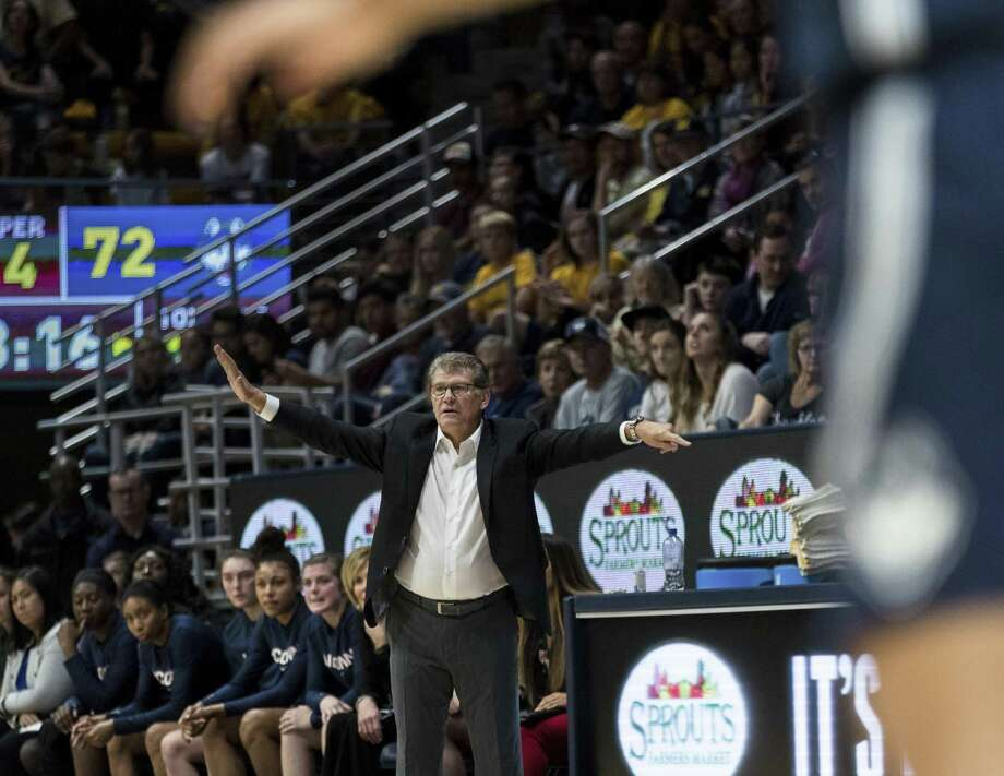 UConn coach Geno Auriemma gestures during a game against Cal in the fourth quarter on Dec. 22. Photo: John Hefti / Associated Press / Copyright 2018 The Associated Press. All rights reserved