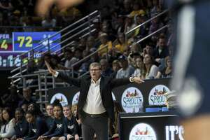 UConn coach Geno Auriemma gestures during a game against Cal in the fourth quarter on Dec. 22.