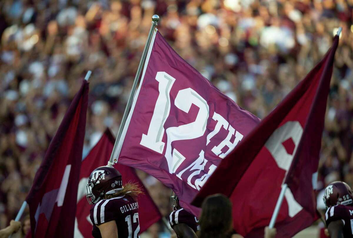 PHOTOS: Can you pass the Texas A&M Aggie quiz? Texas A&M fullback Cullen Gillaspia (12) carries the 12th Man flag during the team run out before the start of an NCAA college football game Saturday, Sept. 15 2018, in College Station, Texas. (AP Photo/Sam Craft) >>>Browse through the gallery to see if you can pass the quiz ...