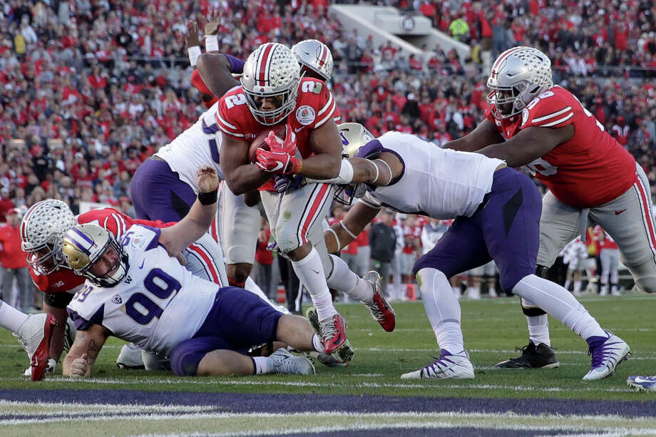 Ohio State running back J.K. Dobbins scores against Washington during the second half of the Rose Bowl NCAA college football game Tuesday, Jan. 1, 2019, in Pasadena, Calif. (AP Photo/Jae C. Hong) Photo: Jae C. Hong / Copyright 2019 The Associated Press. All rights reserved