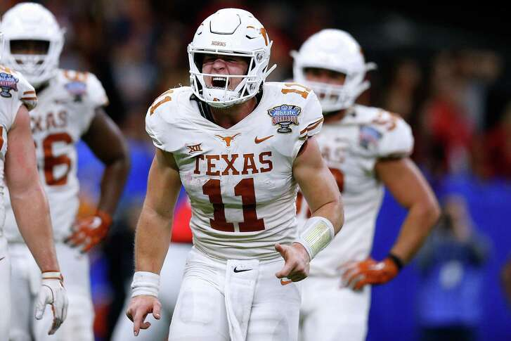 NEW ORLEANS, LOUISIANA - JANUARY 01: Sam Ehlinger #11 of the Texas Longhorns celebrates a touchdown during the second half of the Allstate Sugar Bowl against the Georgia Bulldogs at the Mercedes-Benz Superdome on January 01, 2019 in New Orleans, Louisiana.