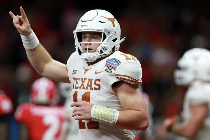 Longhorns QB Sam Ehlinger celebrates after one of his two first-half rushing touchdowns. UT was aiming for its first Sugar Bowl win since 1948.