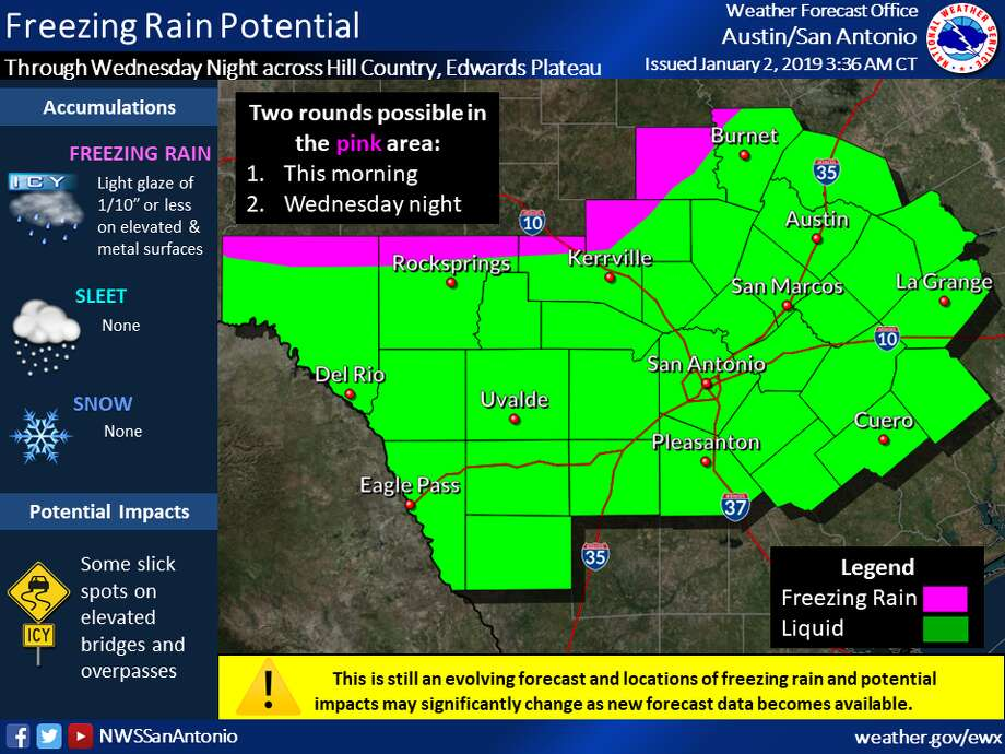 "The Hill Country may receive a ""light glaze"" of ice accumulation Wednesday, according to the National Weather Service. Photo: National Weather Service"