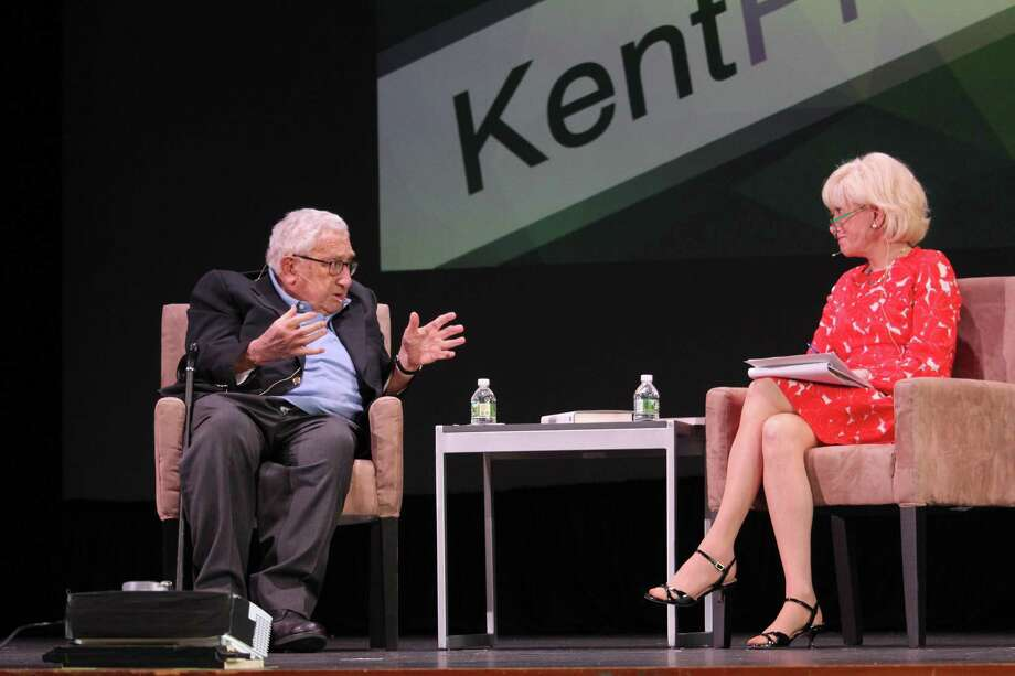 Henry Kissinger talked with Leslie Stahl at KentPresents, an annual conference on ideas. Photo: Dan Haar / Hearst Connecticut Media