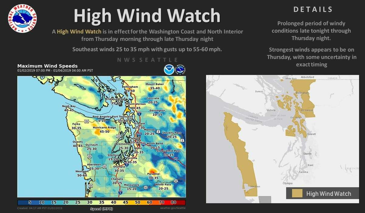 A high wind watch will take effect Thursday along the coast and northern interior.