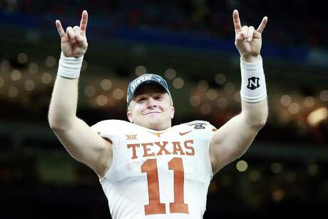 NEW ORLEANS, LOUISIANA - JANUARY 01:  Sam Ehlinger #11 of the Texas Longhorns celebrates after defeating the Georgia Bulldogs 28-21 during the Allstate Sugar Bowl at Mercedes-Benz Superdome on January 01, 2019 in New Orleans, Louisiana.